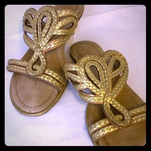 (8) Kate Spade Gold Braided Sandals
